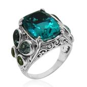 Bali Legacy Collection Capri Blue Quartz, Sky Blue Topaz, Hebei Peridot Sterling Silver Ring (Size 6.0) TGW 16.000 cts.