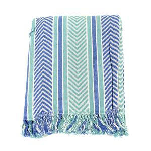 Blue Chevron and Stripes Cotton Fringe Throw (50x60 in)