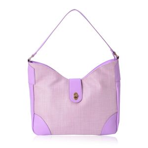 Lilac and Pink Faux Leather Basketweave Design Tote (16x5x11 in)