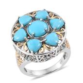 Arizona Sleeping Beauty Turquoise, White Topaz, Madagascar Paraiba Apatite 14K YG and Platinum Over Sterling Silver Statement Ring (Size 9.0) TGW 6.300 cts.