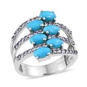 Arizona Sleeping Beauty Turquoise, Tanzanite Platinum Over Sterling Silver Ring (Size 5.0) TGW 3.240 cts.