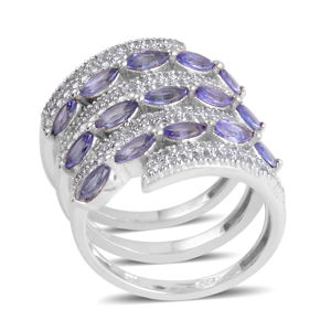 Tanzanite, White Topaz Platinum Over Sterling Silver Spiral Ring (Size 7.5) TGW 3.370 cts.