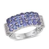 Tanzanite, White Topaz Platinum Over Sterling Silver Ring (Size 6.0) TGW 4.09 cts.