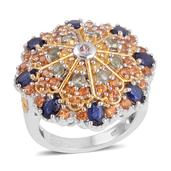 Multi Sapphire 14K YG and Platinum Over Sterling Silver Ring (Size 7.0) TGW 4.370 cts.