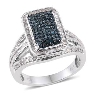 Blue Diamond (IR), Diamond Platinum Over Sterling Silver Ring (Size 8.0) TDiaWt 1.01 cts, TGW 1.01 cts.