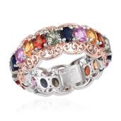 Multi Sapphire Platinum Over Sterling Silver Ring (Size 5.0) TGW 4.720 cts.
