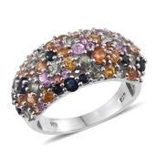 Multi Sapphire Platinum Over Sterling Silver Cluster Ring (Size 6.0) TGW 4.440 cts.