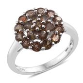 Jenipapo Andalusite Platinum Over Sterling Silver Cluster Ring (Size 5.0) TGW 2.30 cts.