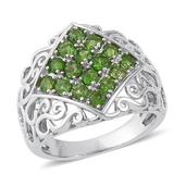 Russian Diopside Sterling Silver Openwork Ring (Size 8.0) TGW 1.42 cts.