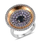 London Blue Topaz, Tanzanite, White Topaz 14K YG and Platinum Over Sterling Silver Ring (Size 5.0) TGW 4.250 cts.
