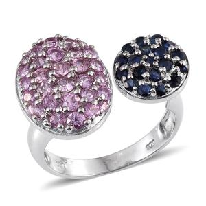 Kanchanaburi Blue and Pink Sapphire Platinum Over Sterling Silver Open Ring (Size 7.0) TGW 2.93 cts.