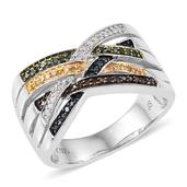Multi Diamond (IR) Platinum Over Sterling Silver Openwork Ring (Size 7.0) TDiaWt 0.29 cts, TGW 0.29 cts.