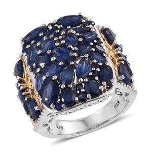 Kanchanaburi Blue Sapphire 14K YG and Platinum Over Sterling Silver Ring (Size 7.0) TGW 9.32 cts.