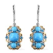 Arizona Sleeping Beauty Turquoise, Malgache Neon Apatite 14K YG and Platinum Over Sterling Silver Lever Back Earrings TGW 4.56 cts.