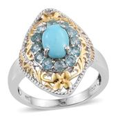Arizona Sleeping Beauty Turquoise, Madagascar Paraiba Apatite 14K YG and Platinum Over Sterling Silver Ring (Size 6.0) TGW 2.300 cts.