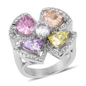 Simulated Multi Color Diamond, Austrian Crystal Stainless Steel Flower Ring (Size 9.0) TGW 12.000 cts.