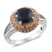 Kanchanaburi Blue Sapphire, Orange and Yellow Sapphire Platinum Over Sterling Silver Split Ring (Size 7.0) TGW 4.79 cts.