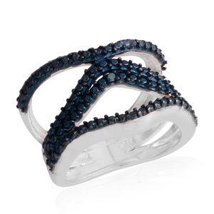 Blue Diamond Platinum Bond Brass Ring (Size 5.5)