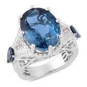 London Blue Topaz, White Topaz Sterling Silver Ring (Size 8.0) TGW 14.100 cts.