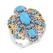 Arizona Sleeping Beauty Turquoise, Electric Blue Topaz, White Topaz 14K YG and Platinum Over Sterling Silver Openwork Statement Ring (Size 8.0) TGW 4.18 cts.