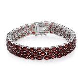 Mozambique Garnet Platinum Over Sterling Silver Bracelet (8.00 In) TGW 51.75 cts.