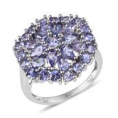 Tanzanite Platinum Over Sterling Silver Cluster Ring (Size 6.0) TGW 3.880 cts.