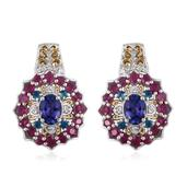 Tanzanite, Multi Gemstone 14K YG and Platinum Over Sterling Silver Earrings TGW 4.81 cts.