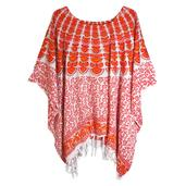 Orange and Pink Flower Print 100% Rayon Poncho Dress With Sequin