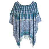 Blue and Green Flower Print 100% Rayon Poncho Dress With Sequin