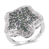 Narsipatnam Alexandrite, White Topaz Platinum Over Sterling Silver Star Ring (Size 7.0) TGW 2.10 cts.