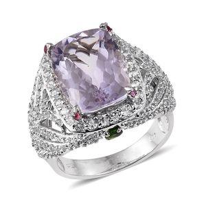 Rose De France Amethyst, Multi Gemstone Platinum Over Sterling Silver Ring (Size 7.0) TGW 12.83 cts.