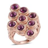 Tribal Collection of India Orissa Rhodolite Garnet 14K RG Over Sterling Silver Elongated Ring (Size 8.0) TGW 7.300 cts.