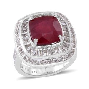 Niassa Ruby, White Topaz Sterling Silver Ring (Size 9.0) TGW 8.98 cts.