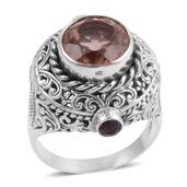 Bali Legacy Collection Morganique Quartz, Amethyst Sterling Silver Openwork Ring (Size 8.0) TGW 7.650 cts.