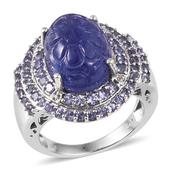 Tanzanite, White Topaz Platinum Over Sterling Silver Statement Ring (Size 8.0) TGW 16.12 cts.