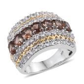 Jenipapo Andalusite, White Topaz 14K YG and Platinum Over Sterling Silver Ring (Size 6.0) TGW 5.19 cts.