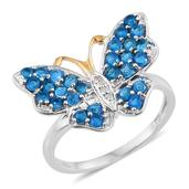 Creature Couture - Malgache Neon Apatite, Diamond 14K YG and Platinum Over Sterling Silver Butterfly Ring (Size 6.0) TDiaWt 0.03 cts, TGW 1.430 cts.