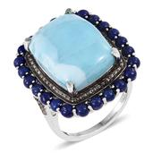Larimar, Lapis Lazuli, Black Diamond Platinum Over Sterling Silver Ring (Size 7.0) TGW 25.23 cts.