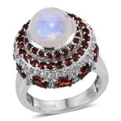 Sri Lankan Rainbow Moonstone, Mozambique Garnet, White Topaz Platinum Over Sterling Silver Ring (Size 9.0) TGW 8.90 cts.