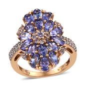 Tanzanite, White Topaz 14K YG Over Sterling Silver Ring (Size 8.0) TGW 5.430 cts.