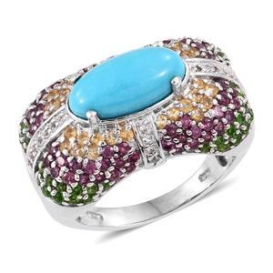 Arizona Sleeping Beauty Turquoise, Multi Gemstone Platinum Over Sterling Silver Ring (Size 8.0) TGW 6.260 cts.