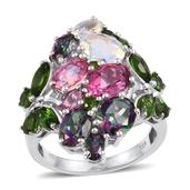 Multi Gemstone Platinum Over Sterling Silver Ring (Size 5.0) 0 TGW 10.100 cts.