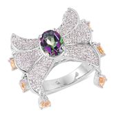 Treasures from the Orient Northern Lights Mystic Topaz, Brazilian Citrine, White Topaz Sterling Silver Ring (Size 7.0) TGW 2.80 cts.