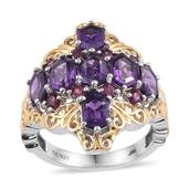 Amethyst, Orissa Rhodolite Garnet 14K YG and Platinum Over Sterling Silver Ring (Size 7.0) TGW 4.90 cts.