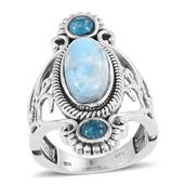 Larimar, Malgache Neon Apatite Sterling Silver Openwork Elongated Ring (Size 7.0) TGW 7.000 cts.