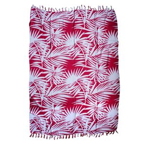 White and Pink Leaf Print 100% Rayon Sarong (71x47 in)