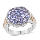 Tanzanite 14K YG and Platinum Over Sterling Silver Cluster Ring (Size 5.0) TGW 3.300 cts.