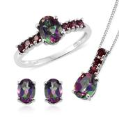 Northern Lights Mystic Topaz, Orissa Rhodolite Garnet Platinum Over Sterling Silver Ring (Size 8), Earrings and Pendant With Chain (20 in) TGW 5.75 cts.