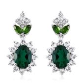Lab Created Emerald, Russian Diopside, White Topaz Platinum Over Sterling Silver Dangle Earrings TGW 4.43 cts.