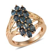 Teal Kyanite 14K YG Over Sterling Silver Openwork Ring (Size 8.0) TGW 3.900 cts.